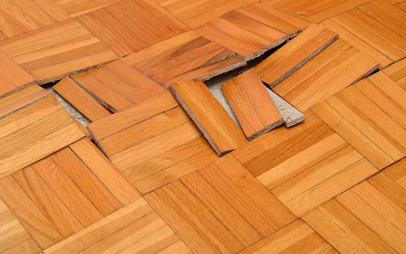 Photo of water damaged floors