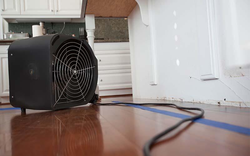 Photo of an industrial fan drying wet floors