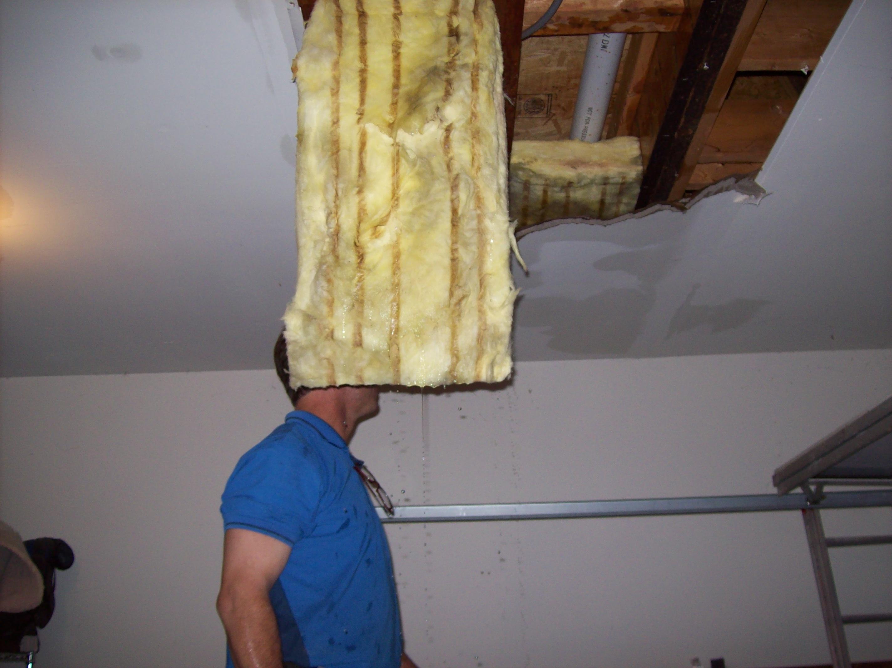 Photo of employee examining ceiling damage