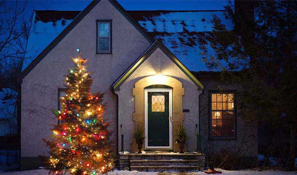 Photo of a lit Christmas tree infront of a house